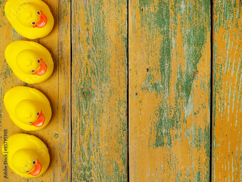 Obraz Rubber ducks on wood - fototapety do salonu