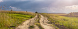 Fototapeta Tęcza - Polna droga o zachodzie słońca w polu pszenicy
