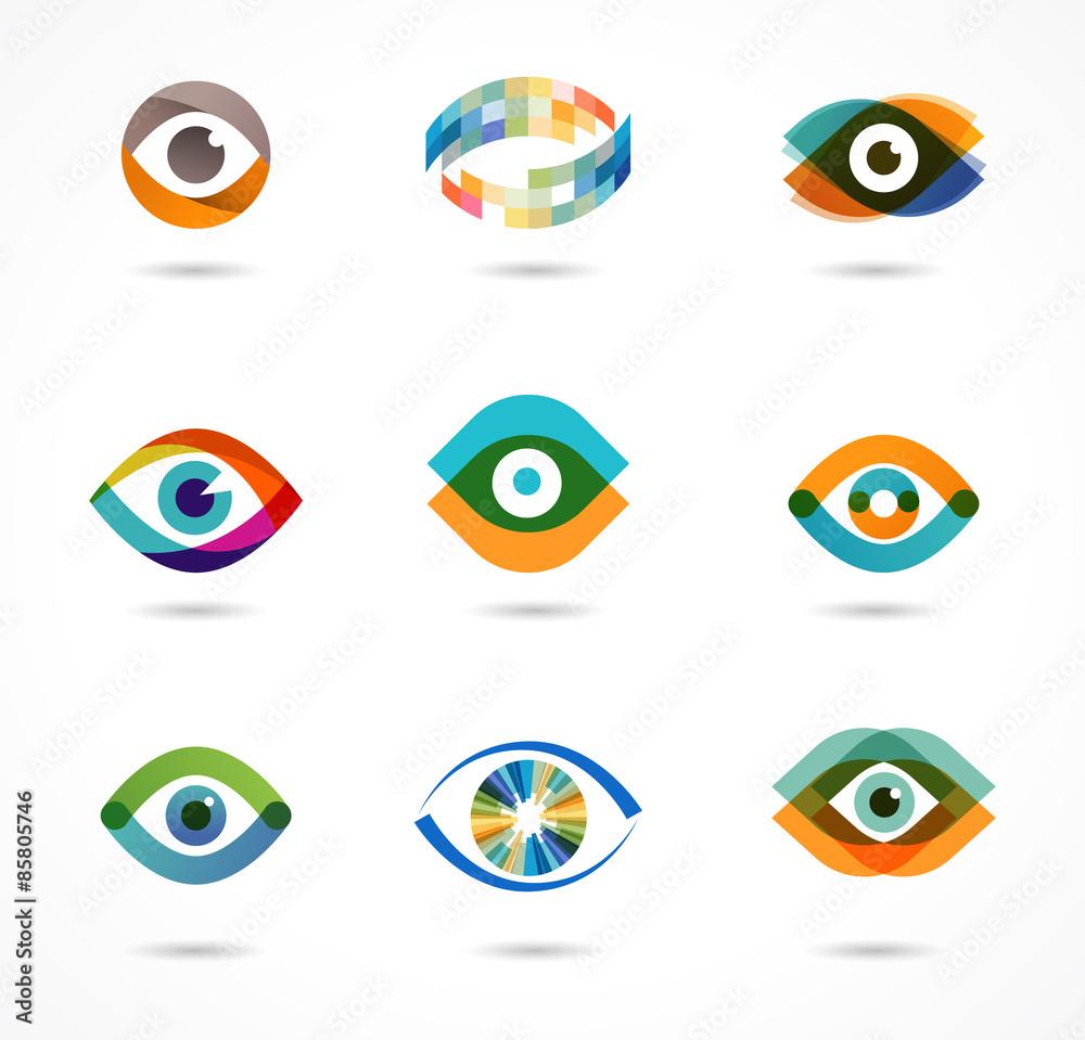 Fototapeta Set of colorful eye icons
