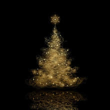 Christmas Tree, Vector Eps9. Background Color Can Be Changed Without Loosing The Glow Effect