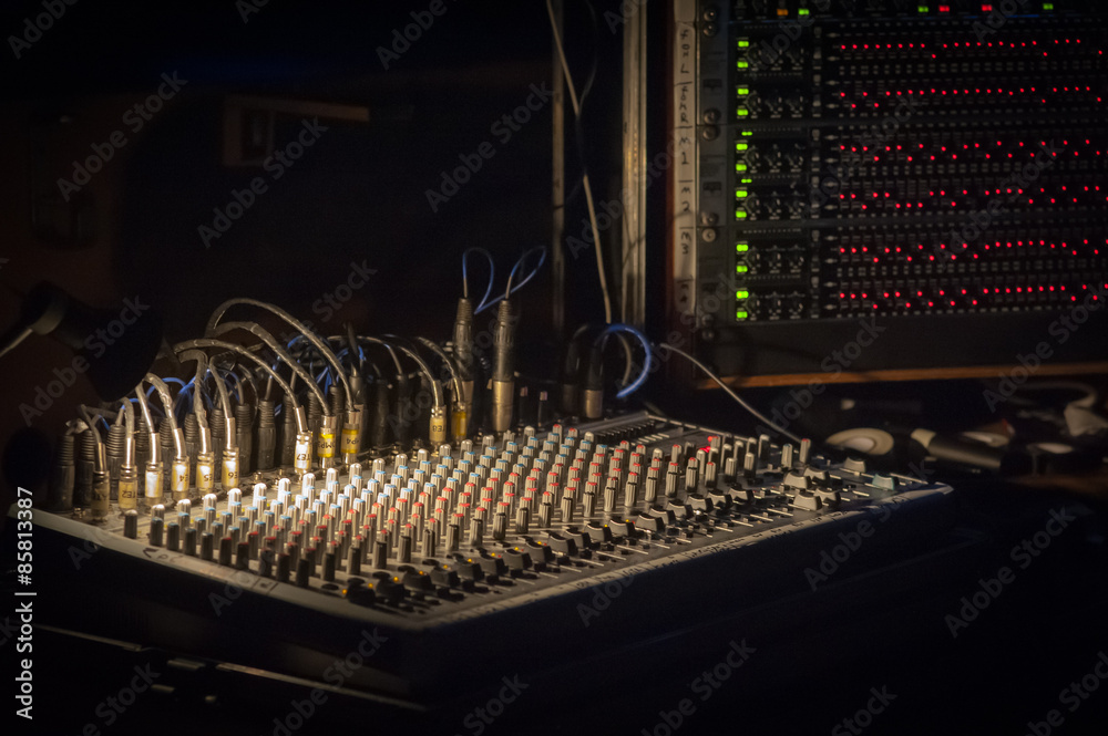 Photo & Art Print spotlight on a mixing soundboard at a