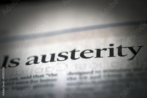 Photo Austerity written news paper