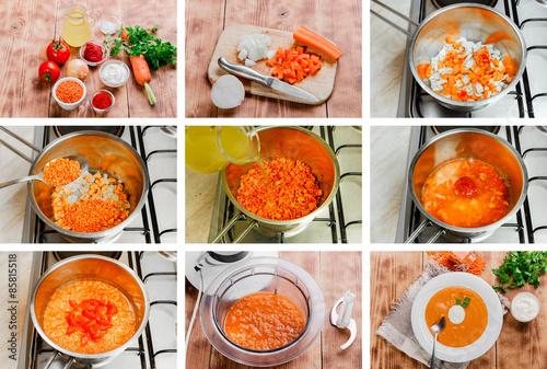 Fotografie, Obraz  step by step recipe for cooking soup mashed orange lentils