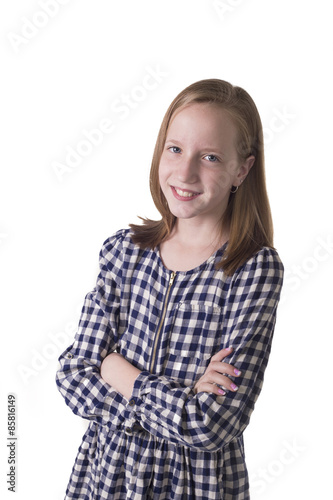 Confident preteen isolated on white