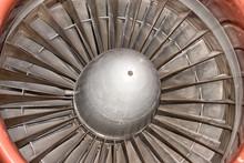 Jet Airplane Turbine Engine Close Up