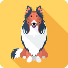 Dog Rough Collie Icon Flat Des...