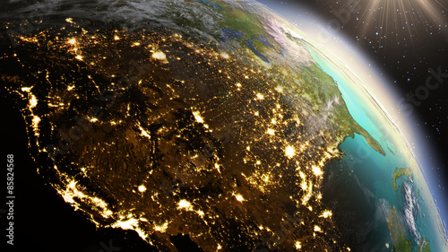 Fotografía  Planet Earth North America zone using satellite imagery NASA