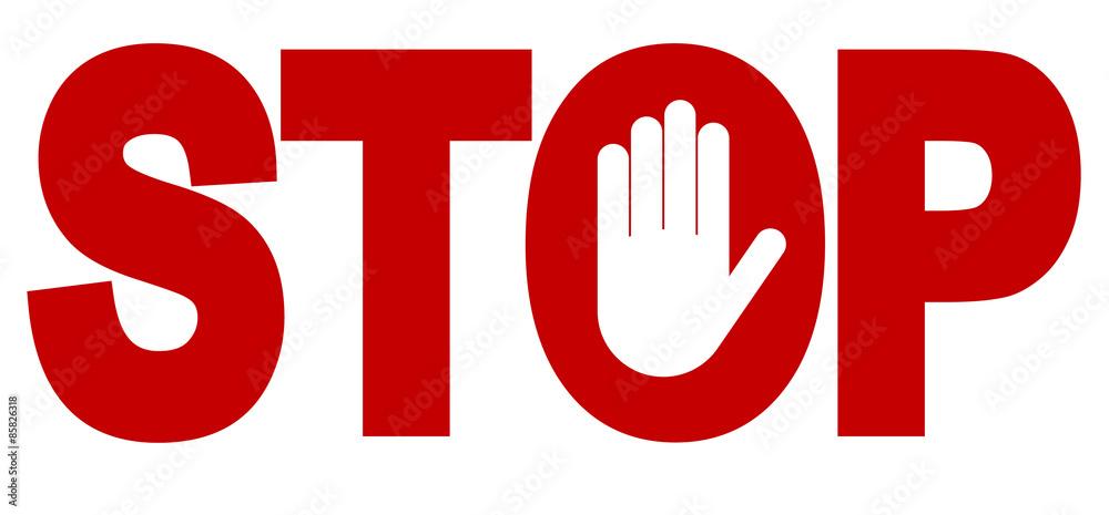 Fototapety, obrazy:  Red stop inscription