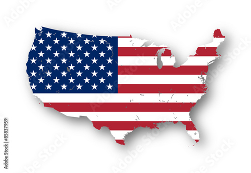 Photo  High resolution map of the USA with american flag