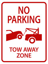 Red Tow Away Sign For Street