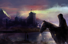 Fantasy Black Horse Rider With Background Castle View Illustration.