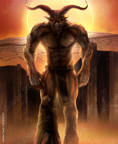 Minotaur walking with concrete stone maze with sunset background Illustration.