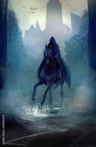 Photo  Black fantasy horseman with hood riding in dark forest road illustration