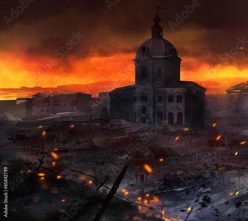 Illustrated post battle scene with tanks, church & grave crosses background artwork. Wall mural