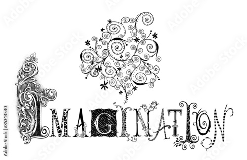 Fotografie, Obraz  Imagination Typography Illustration