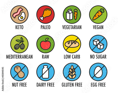Fotografie, Obraz  Set of colorful round icons of various diets and ingredient labels