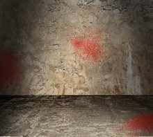 Empty Concrete Room With Blood Spatter