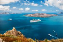 Cruise Ship At Sea Near The Greek Islands.