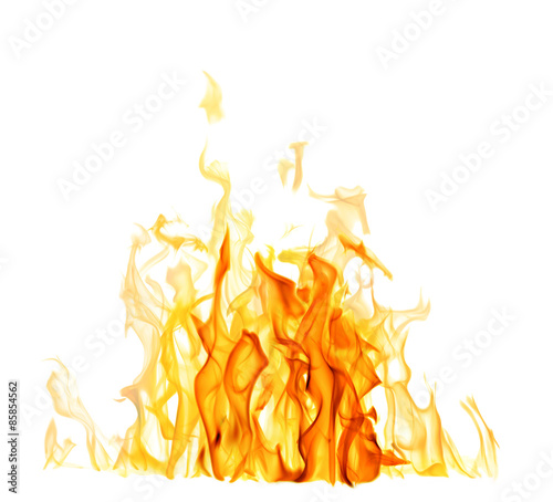 Poster Fire / Flame light and dark yellow flame isolated on white