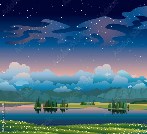 Foto op Canvas Groen blauw Summer hight landscape with lake, forest and mountains.