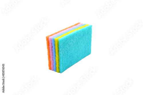 Photo  Image of colored sponges with a white background isolated close up