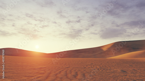 Desert sunset low angle view Canvas Print
