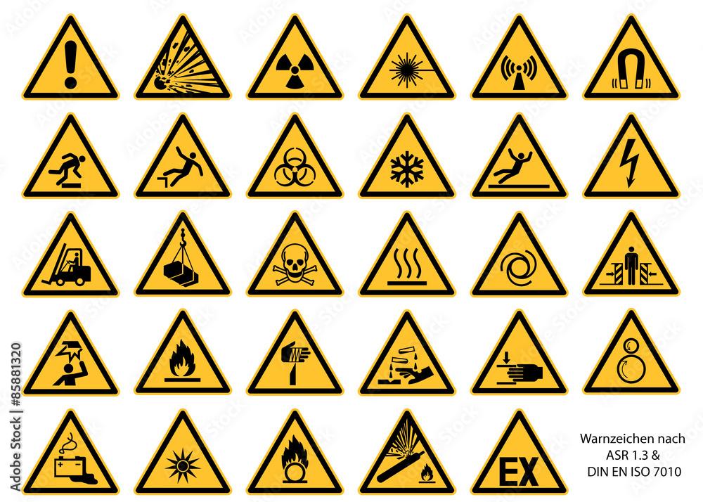 Fototapeta Warnzeichen nach DIN EN ISO 7010 und ASR 1.3