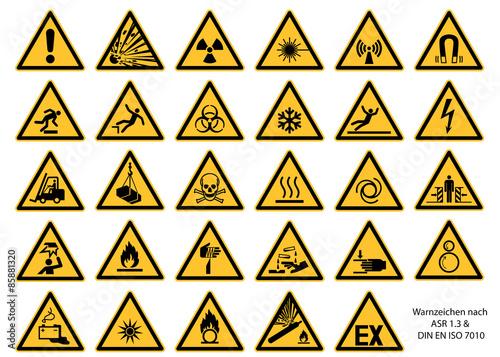 Leinwand Poster Warnzeichen nach DIN EN ISO 7010 und ASR 1.3