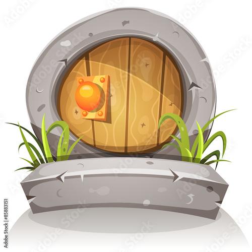 Photo  Cartoon Wooden And Stone Hobbit Door For Ui Game