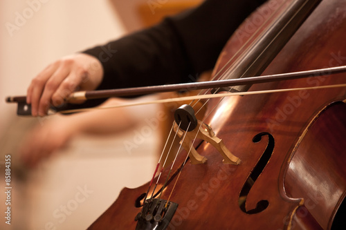 The bow on the strings cello closeup Fotobehang