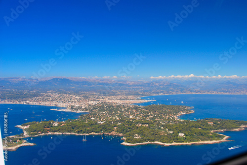 view of the french riviera, Cap Antibes, cote D'azure coast line from the sky Canvas Print