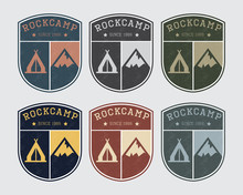 Badge Logo Camp With Rock And Tent. Vintage Style, Different Colors.