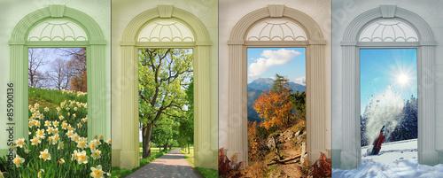 Collage Vier Jahreszeiten 7 - Narzissen, Eichenallee, Bergherbst Poster Mural XXL