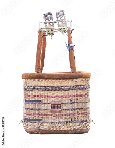 Hot air balloon basket isolated on white background with clipping path