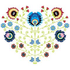 Polish folk floral pattern in heart shape