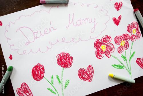 Laurka na dzień matki narysowana przez dziecko - fototapety na wymiar