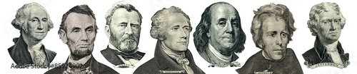 President portraits from money Poster Mural XXL
