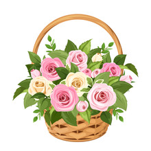 Basket With Pink And White Ros...