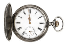 Old Silver Pocket Watch / Real Antique Pocket Watch Before Midnight.