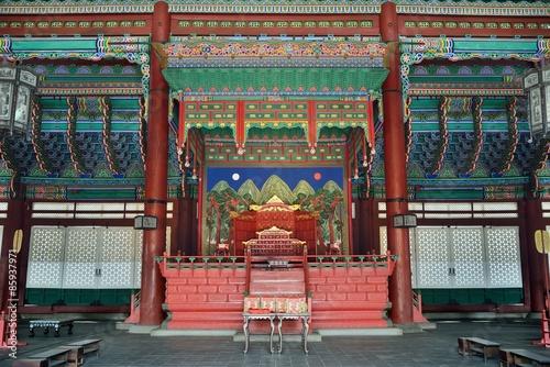 the inside of Geunjeongjeon in Gyeongbok palace in Korea Poster