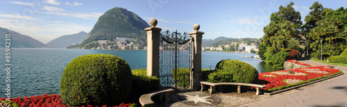 Lugano, Switzerland - View of the gulf from the botanical garden #85942311