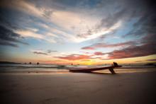 Surfboard On A Deserted Beach