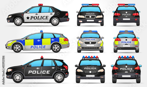 Tuinposter Cartoon cars Vector Police Cars - Side - Front - Back view