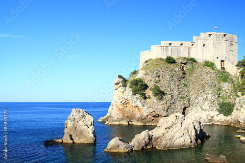 Fortification Fort Lovrijenac in Dubrovnik (Croatia), blue Adriatic sea and blue sky