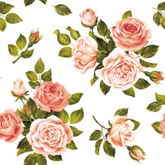 Fototapeta Róże Seamless delicate pattern with roses. Vector illustration.