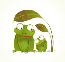 Two Frogs Mother And Baby Childish Animal Cartoon