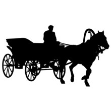 Silhouette  Horse And Carriage...