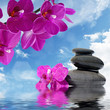 Zen spa concept background - Zen massage stones and orchid flowers reflected in water