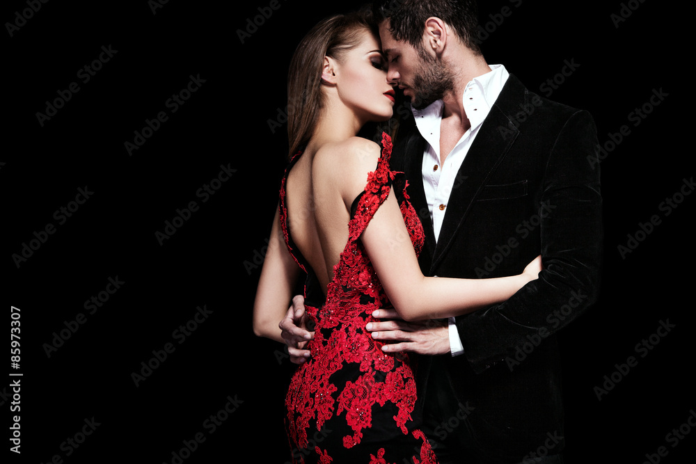 Fototapeta Fashion photo of sexy elegant couple in the tender passion