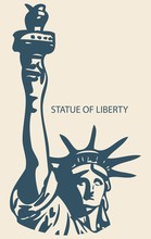 Statue Of Liberty Outline Illustration Vector